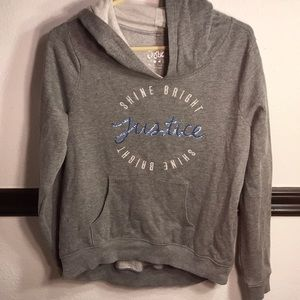 Girls Size 20 Justice Hoodie Gray
